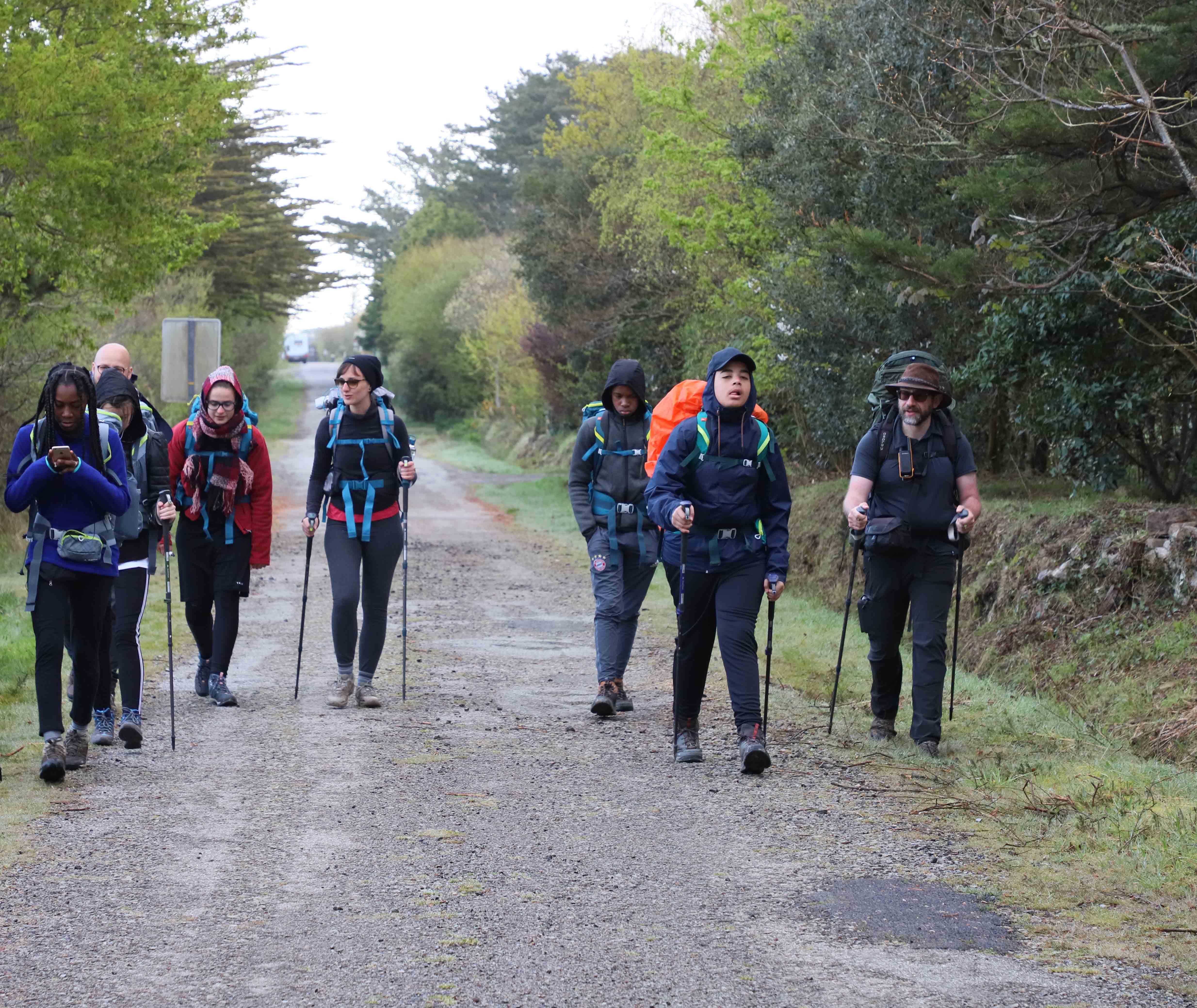 Le groupe en randonnée en Bretagne